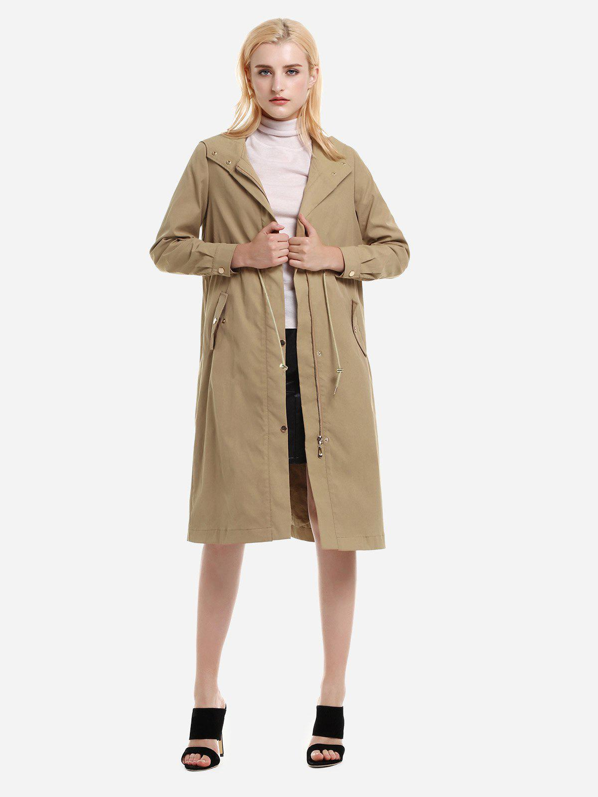 Buy ZAN.STYLE Longline Silhouette Belted Hooded Trench Coat