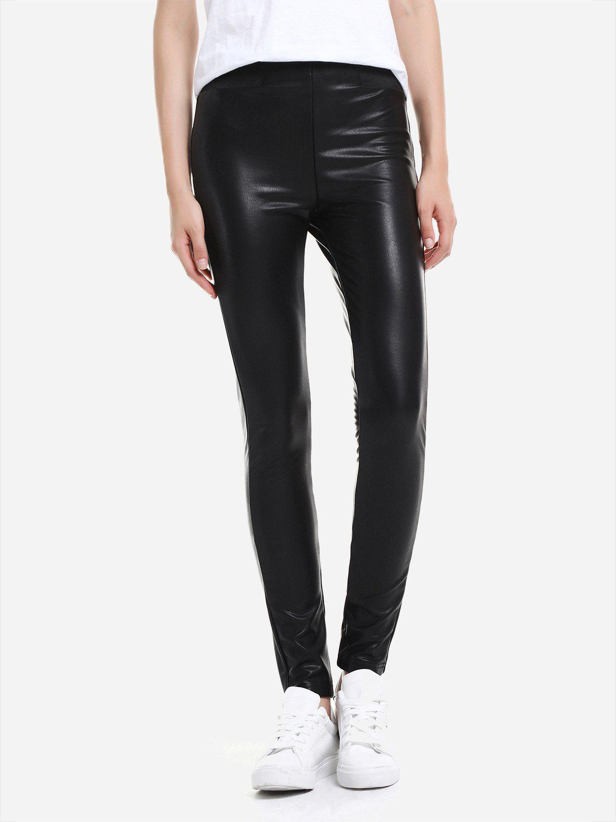 Online ZAN.STYLE Leather Leggings with Elasticized Waist