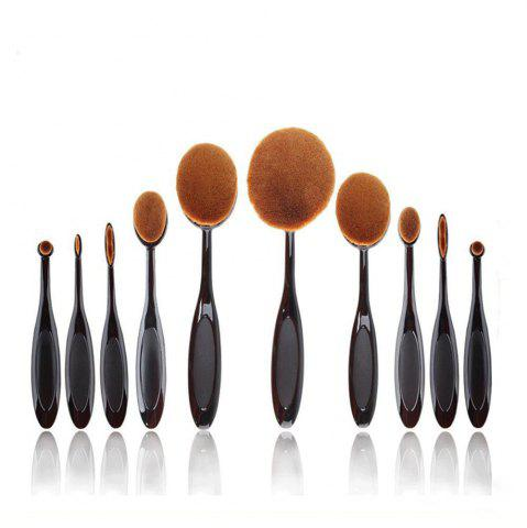 Hot TODO 10pcs All in One Professional Oval Makeup Brushses