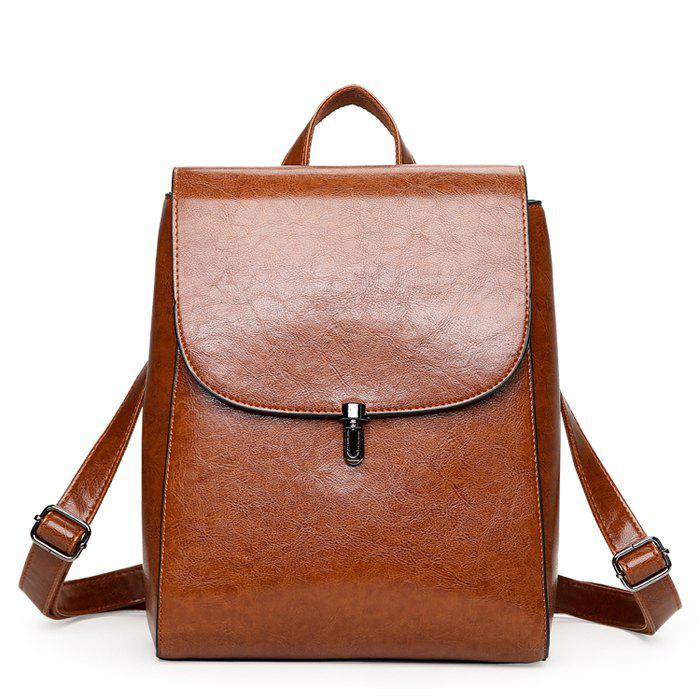 Discount Fashion Retro Solid Color PU Backpack for Women