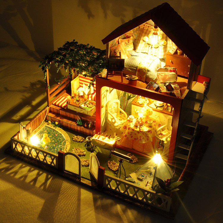 New DIY Miniature Pretend Play West Style Wooden Dollhouse Set for Kids