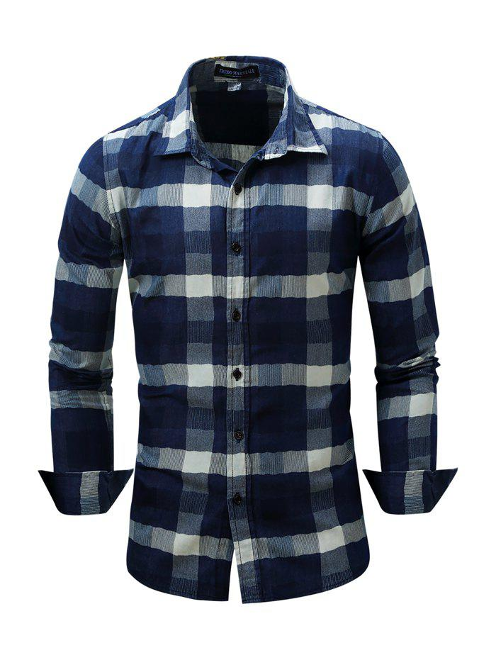 Outfits FREDD MARSHALL Male Classic Long Sleeve Cotton Checked Shirt