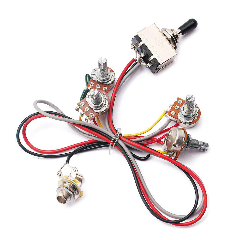 49 Off 2018 2v 2t Wiring Harness 3 Way Toggle Switch 500k Pots Braided Stainless Wire Cheap For Guitar
