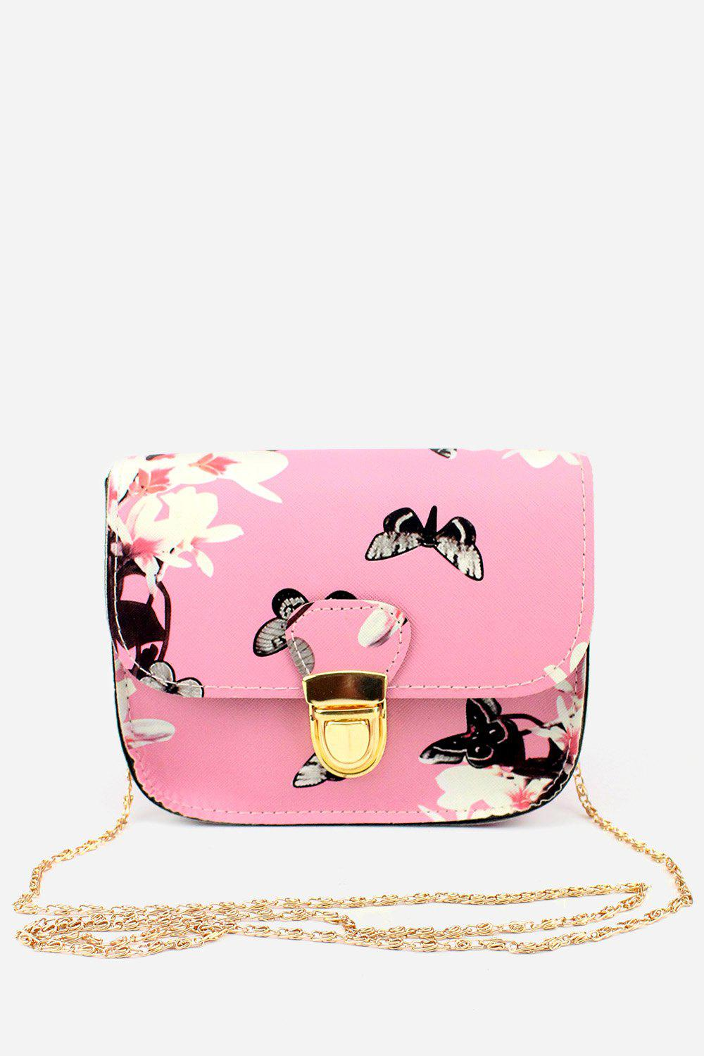 Affordable Leisure Butterfly FlowerPrinted PU Chain Strap Shoulder Bag