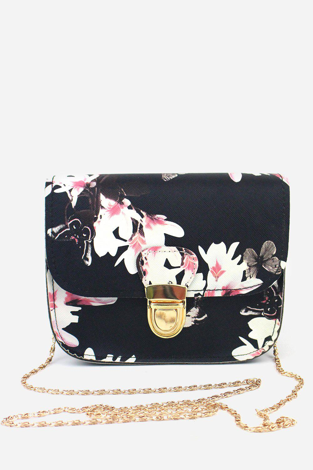 Discount Leisure Butterfly Flower Printed PU Chain Strap Shoulder Bag