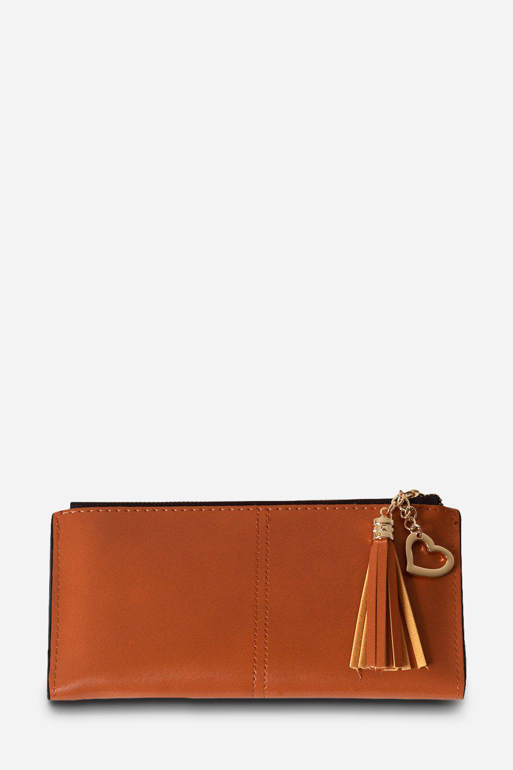 Shop Stylish Solid Color PU Bifold Long Wallet for Women