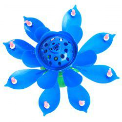 Electric Birthday Candle Music Lotus Flower Cake Decoration -