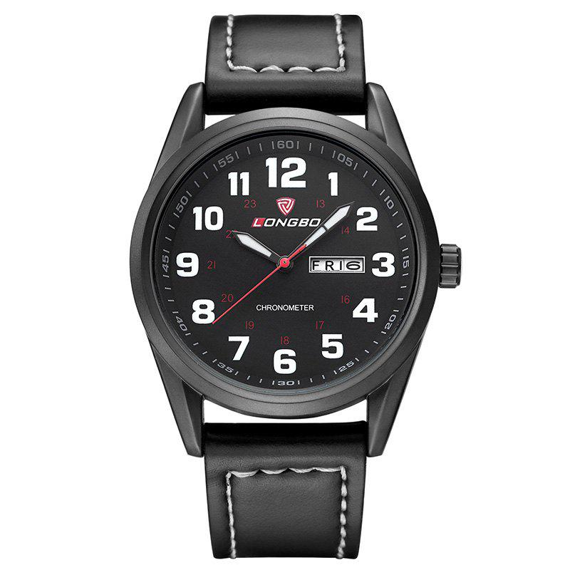 Longbo 80207 4586 Leisure Luminous Needle Watch for MenJEWELRY<br><br>Color: BLACK; Brand: Longbo; Watches categories: Men; Watch style: Business,Casual,Fashion;