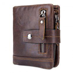 BULLCAPTAIN Trendy Genuine Leather Bifold Wallet with Buckle for Men -