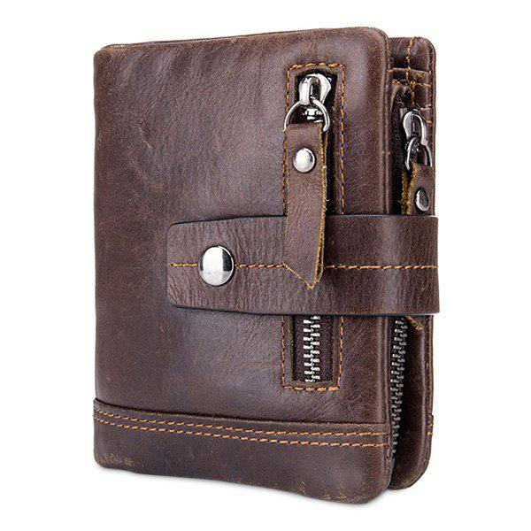 Unique BULLCAPTAIN Trendy Genuine Leather Bifold Wallet with Buckle for Men