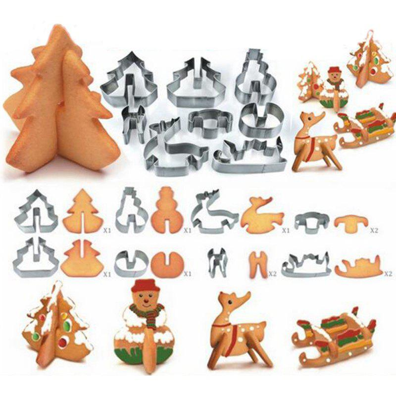 Online Hoard 8PCS 3D Christmas Scenario Cookie Cutter Mold Set Stainless Steel Fondant Cake Mould