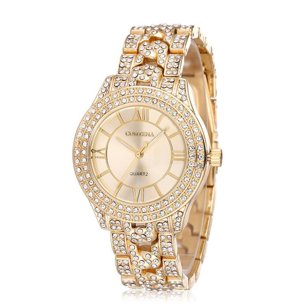 Contena GENEVA Double-row Diamond Lady Quartz WatchJEWELRY<br><br>Color: GOLDEN; Brand: Contena Geneva; Watches categories: Female table; Watch style: Business,Fashion; Available Color: Gold,Rose Gold,Silver;