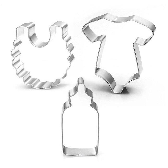 Baby Clothes Bib Milk Bottle Stainless Steel Cake Baking Mold 3pcsHOME<br><br>Color: SILVER; Type: Bakeware; Material: Stainless Steel;