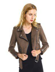 Casual Faux Suede Moto Jacket -