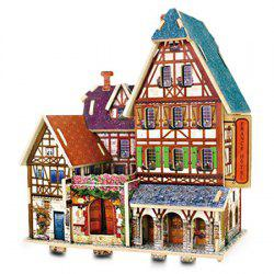 Creative DIY 3D French Style Wooden Building Model Set Pretend Play Jigsaw Puzzle -