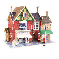 Creative DIY 3D British Style Wooden House Model Set Pretend Play Jigsaw Puzzle -