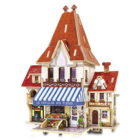 Chic Creative DIY 3D French Style Wooden Building Model Set Pretend Play Jigsaw Puzzle