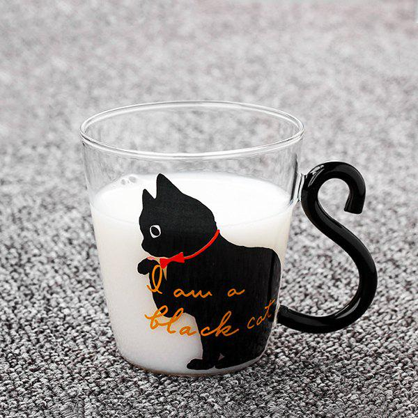 Online 220ml Cute Cat Glass Mug Tea Milk Coffee Cup English Words for Home Office