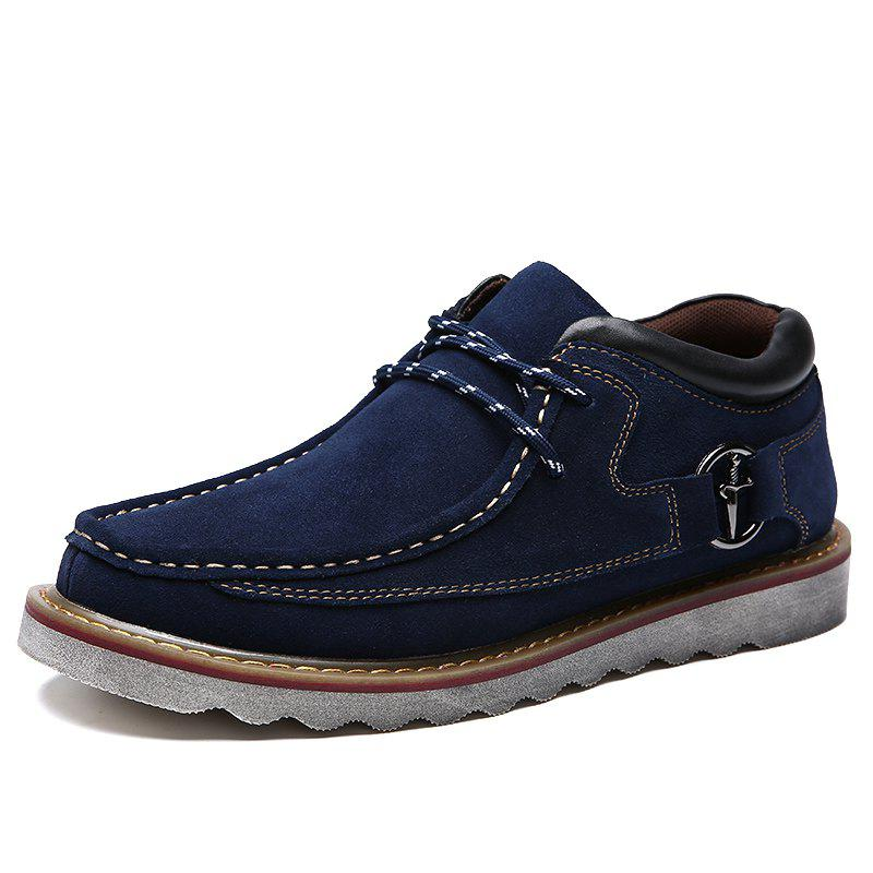 Chic Casual Soft Anti Slip Medium Top Thickened Lace Up Retro Patent Leather Shoes for Men
