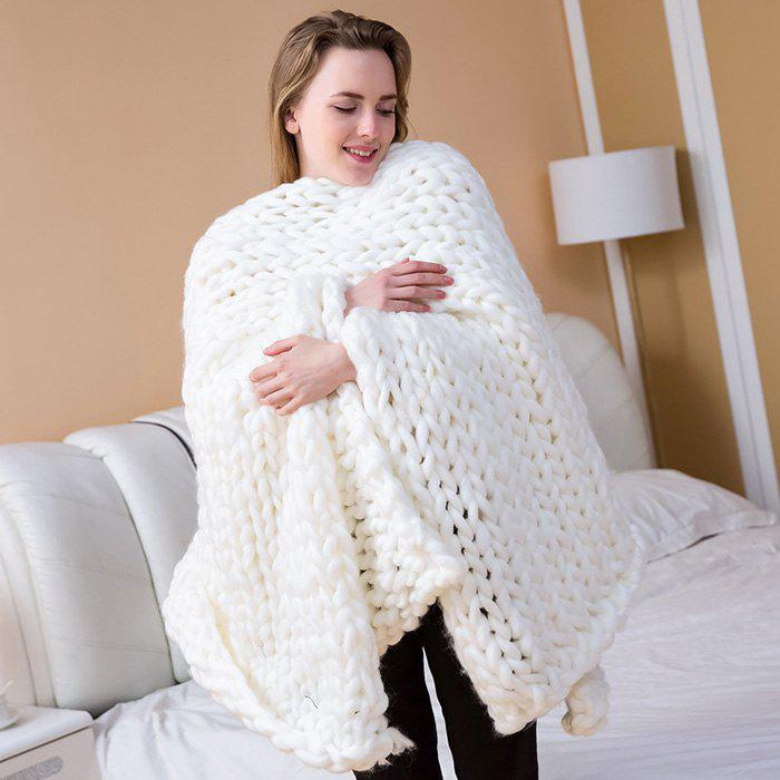 Fancy Handmade Knitted Chunky Blanket Super Thick Polyester Wedding Anniversary Gift Home Decor