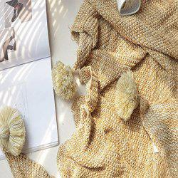 Unique Pure Color Cotton Knitted Tassels Ball Blanket -