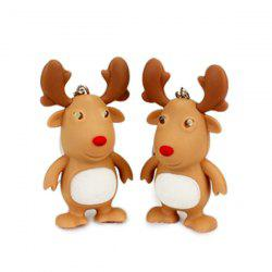 Cartoon Christmas Elk Keychain with Light Sound Decoration Toy Gift 1pc -
