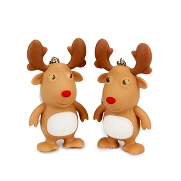 Affordable Cartoon Christmas Elk Keychain with Light Sound Decoration Toy Gift 1pc