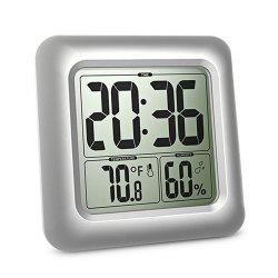 Waterproof Wall Clock Bathroom Temperature Hygrometer -