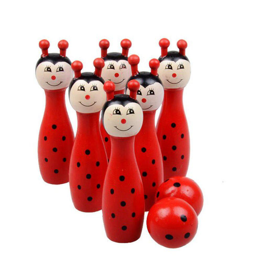 WUIBN Wooden Cartoon Bowling Educational Puzzle