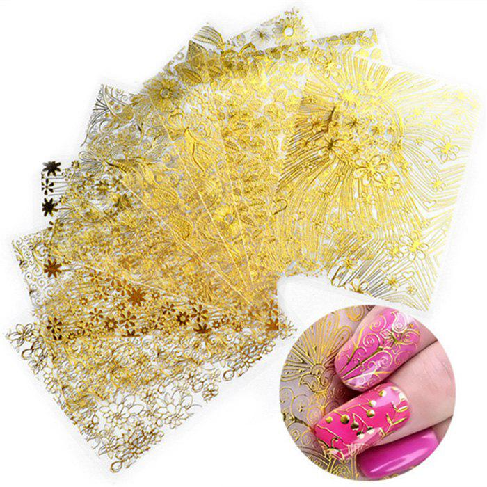 Sale XM 3D Gold Embossed Nail Stickers Gorgeous Manicure Decals 8PCS