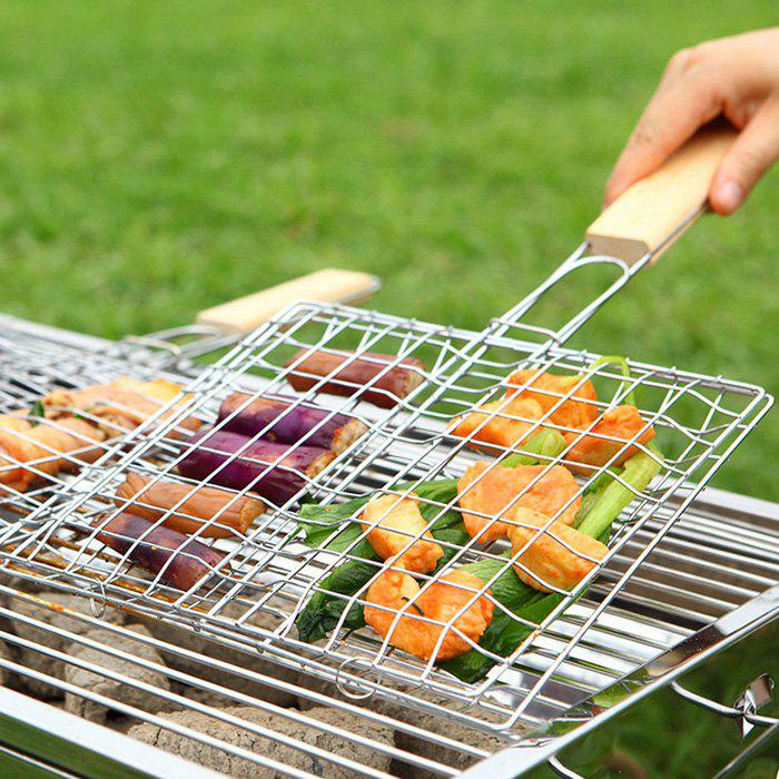 New Portable Barbecue Grill Basket Iron Wire Extendable Broiler Rack for Hamburger Meat