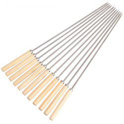 Barbecue Skewer Stainless Steel Grill Stick Needle Wooden Handle 25PCS -