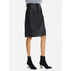 Washed Leather Skirt -