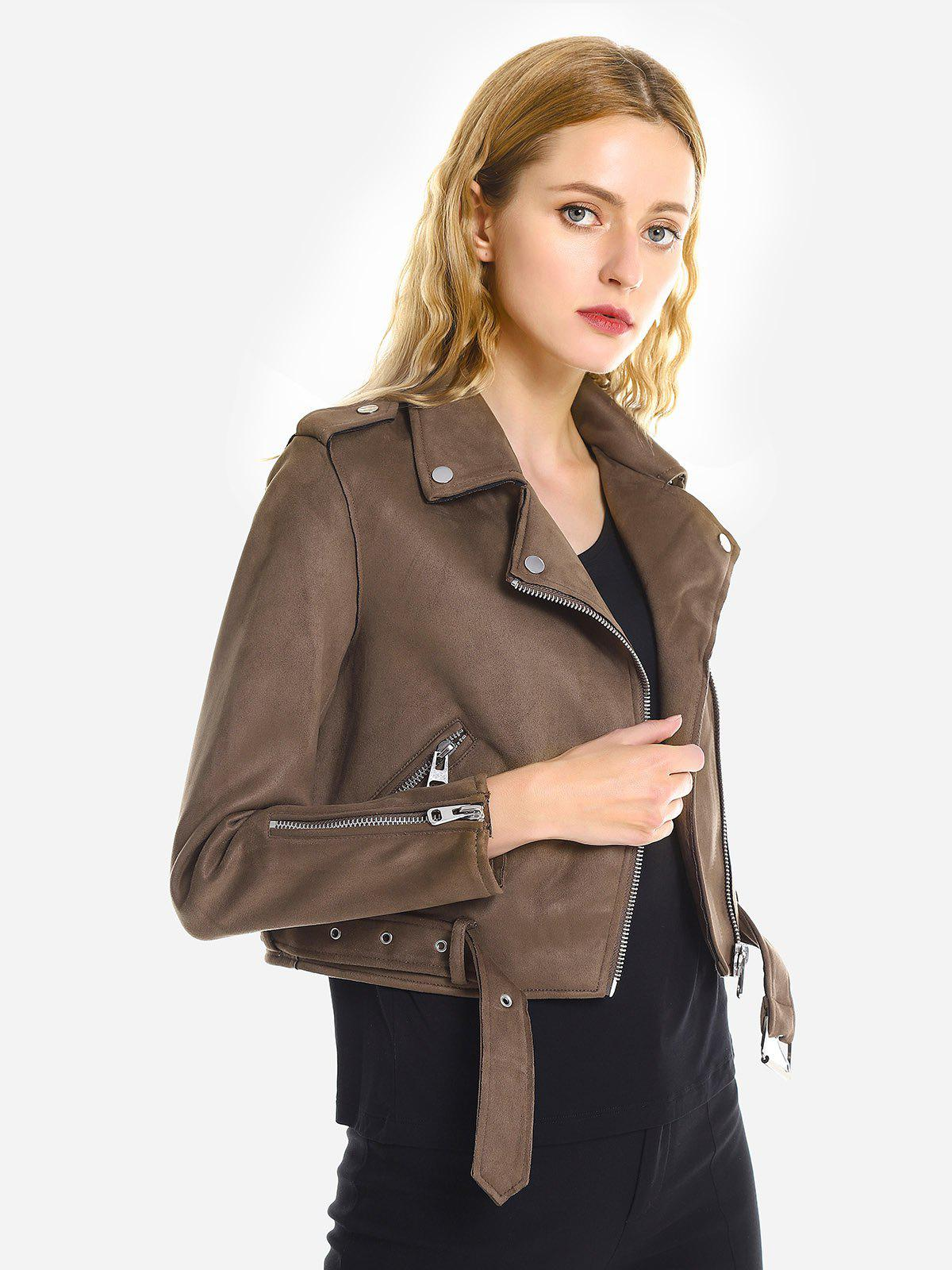 Outfit Casual Faux Suede Moto Jacket