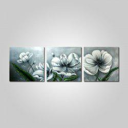 Mintura Hand Painted Flower Oil Painting Canvas Hanging Artwork 3PCS -