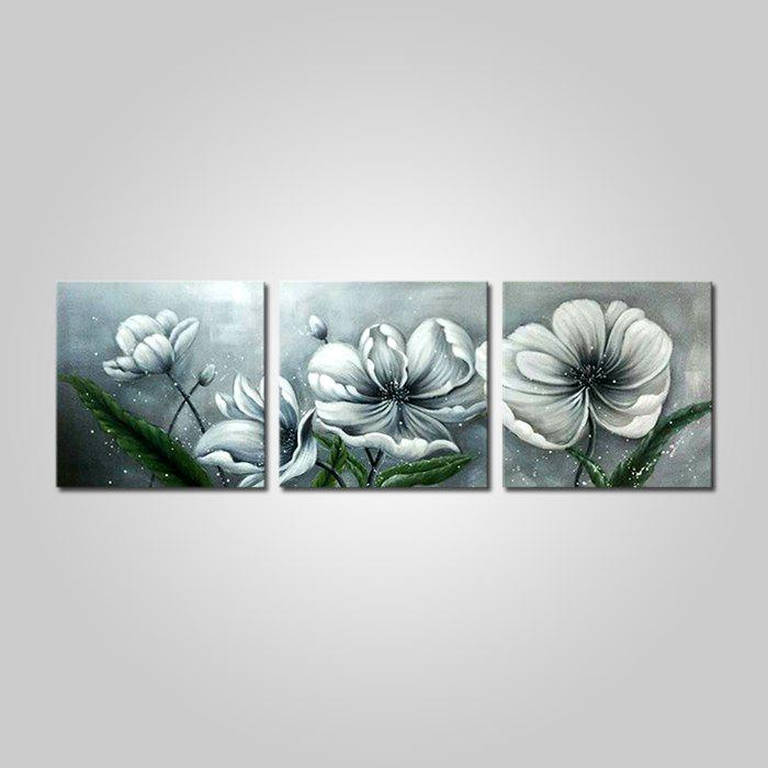 Hot Mintura Hand Painted Flower Oil Painting Canvas Hanging Artwork 3PCS
