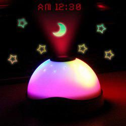 Charming LED Stars Moon Projection Light with Clock -