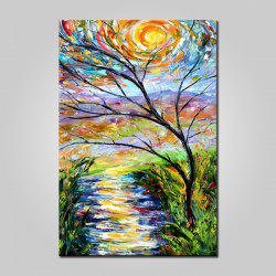 Mintura MT161007 Hand Painted Oil Painting Tree View Pattern Canvas Artwork for Wall Decor -
