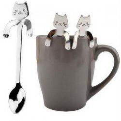 Cute Cat Pattern Flatware Long Handle Spoon -