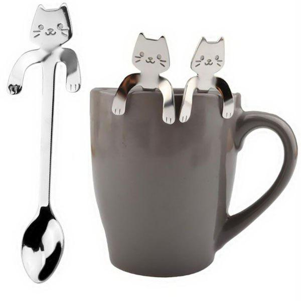New One Piece Cute Cat Pattern Flatware Long Handle Spoon