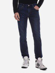 Mid Rise Waist Washed Jeans -