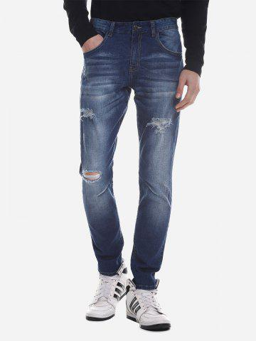 ZAN.STYLE Ripped Faded Skinny Jeans - BLUE - 32