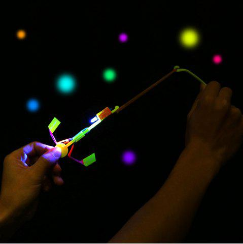 Latest LED Light-up Rubber Slingshot Helicopter Toys for Kids 50PCS