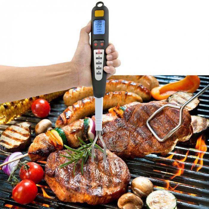 Chic Digital Meat Thermometer Stainless Steel Fork for Grilling Thanksgiving Barbecue