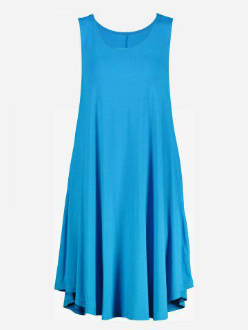 ZAN.STYLE Sleeveless Swing Tunic Dress Tank Top - LAKE BLUE - M