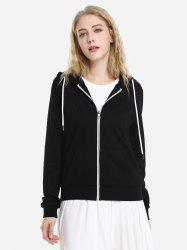 Контраст Drawstring Zip Up Руна Hoodie -