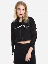 Drawstring Cropped Hoodies -