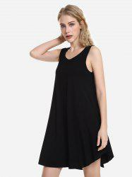 Sleeveless Swing Tunic Dress Tank Top - Чёрный M
