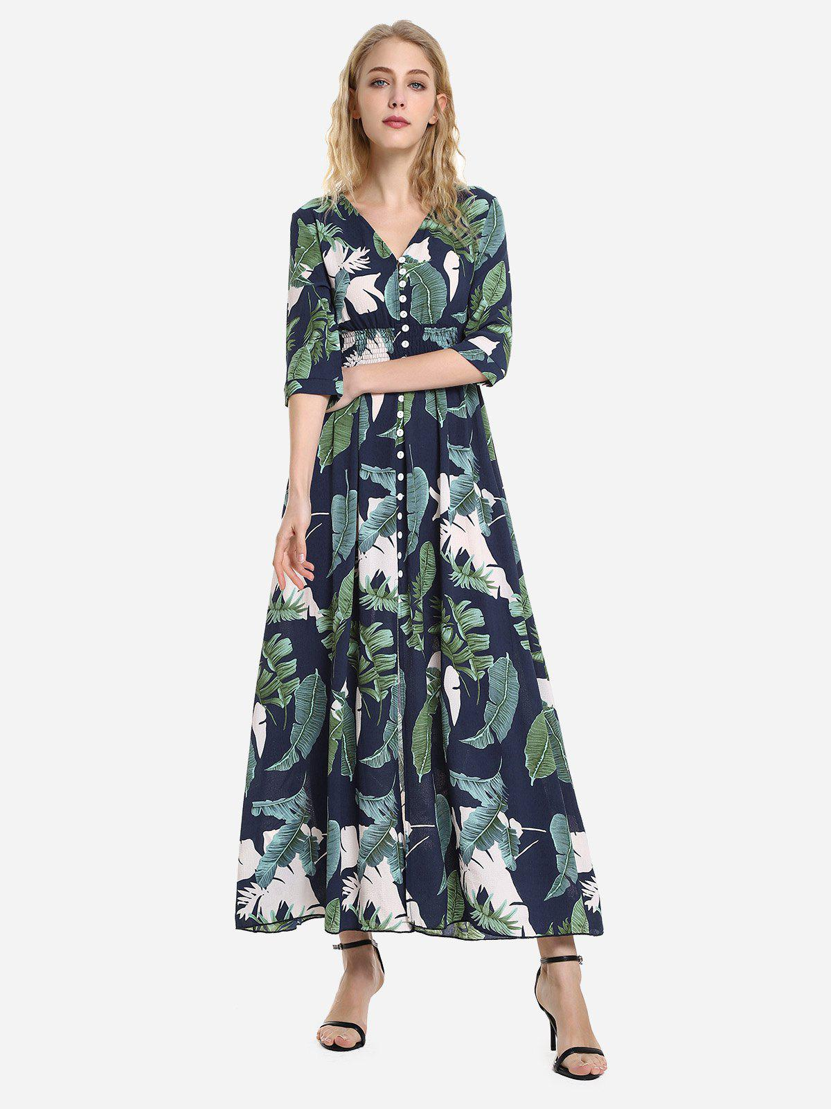 Latest Half Sleeve Floral Print V Neck Dress