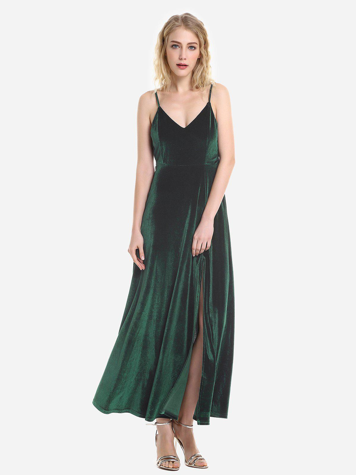 Sale Velvet Adjustable Strip Slip Dress